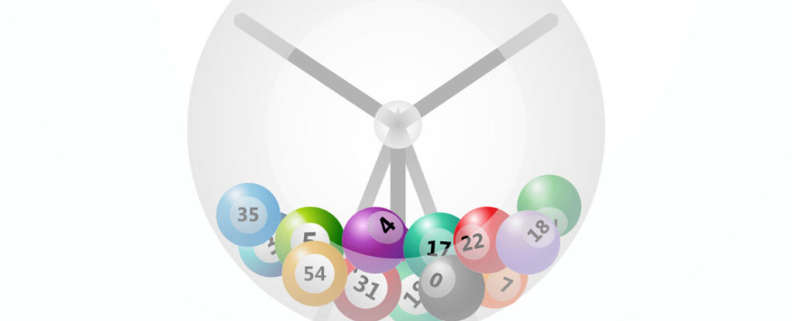 Lottery machine with balls inside isolated on white background. Vector illustration